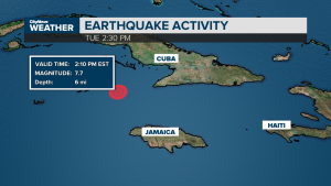Magnitude 7.7 earthquake hits off the coasts of Jamaica and Cuba