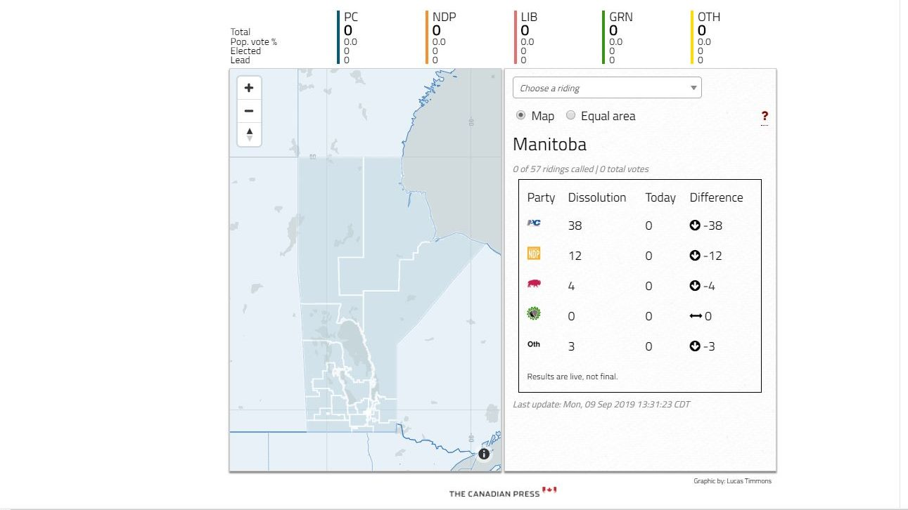 Live riding-by-riding Manitoba election results map